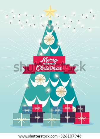 Christmas tree greeting template vector/illustration - stock vector