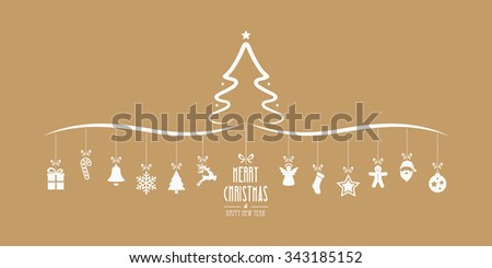christmas tree hanging decoration elements gold background - stock vector