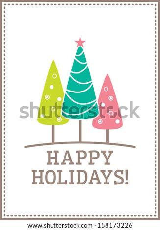 Christmas Tree Happy Holidays - stock vector
