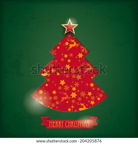 Christmas tree hole on the vintage background. Eps 10 vector file. - stock vector