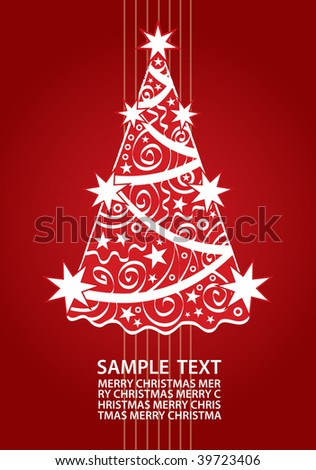 Christmas Tree Holiday Card With Space For Your Text (vector). In the gallery also available XXL jpeg version of this image.