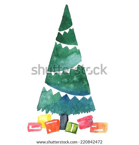 Christmas tree holidays hand drawn paint winter colorful vector design - stock vector