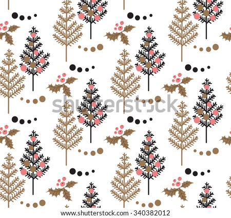 Christmas Tree, Holly leaf, berry, Ornament & snowball seamless pattern on white background. Black, Gold, Pink, White vector backdrop. Christmas themed design. Hand drawn vintage winter illustration.  - stock vector
