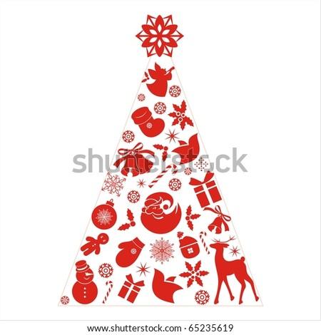 christmas tree icon set - stock vector