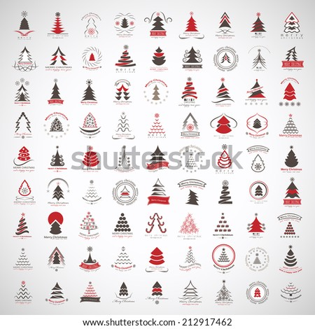 Christmas Tree Icons And Elements Set - Isolated On Gray Background - Vector Illustration, Graphic Design Editable For Your Design - stock vector