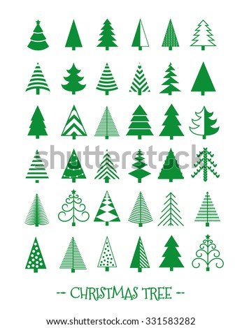 Christmas Tree Icons Set. Vector Illustration - stock vector