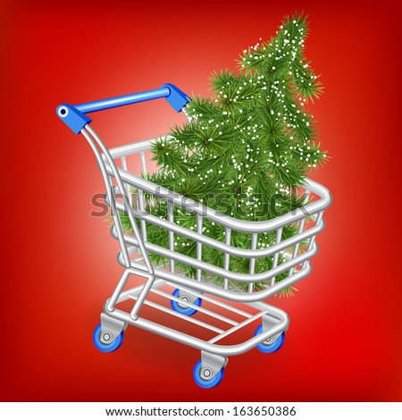 Christmas tree in a shopping cart on a red background - stock vector