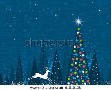 Christmas tree in forest of alders and one running deer,  vector illustration - stock vector