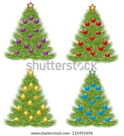 Christmas tree in multiple colors on a white background - stock vector