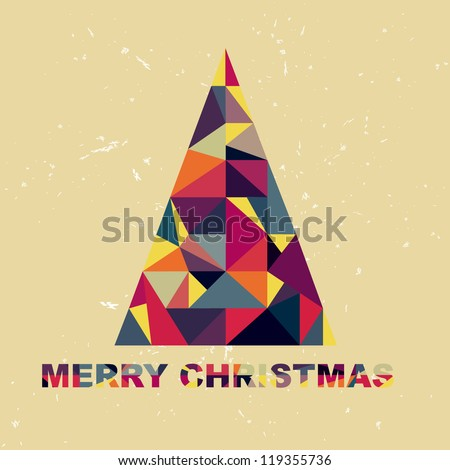 Christmas tree in retro style of the pieces of fabric - stock vector