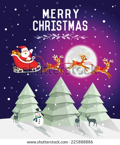Christmas tree in snowy night with Santa Claus rides in a reindeer sleigh - stock vector