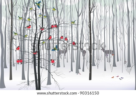 Christmas tree in the forest - stock vector