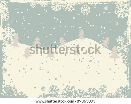 Christmas tree in the snowy hills. Retro style landscape - stock vector