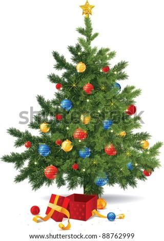 Christmas tree in vector - stock vector