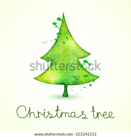 Christmas tree in watercolor trending style, isolated on white background, vector cute illustration - stock vector