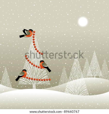 Christmas tree in winter forest. Vector - stock vector
