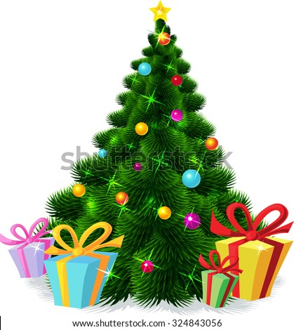 Christmas tree isolated - vector illustration - stock vector