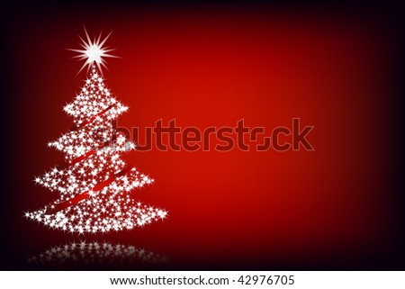 Christmas tree lighting in red background