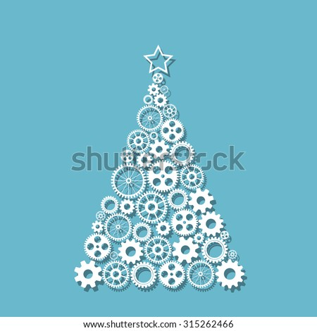 Christmas tree made from gears set, eps10 vector - stock vector