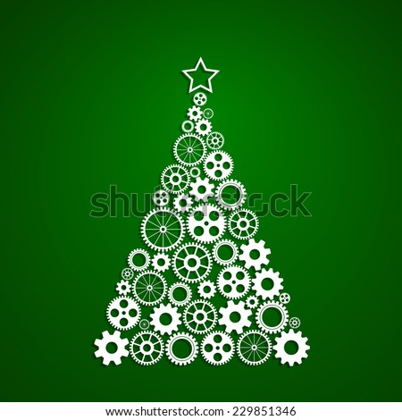 Christmas tree made from gears set, eps10 vector concept of corporate Christmas - stock vector