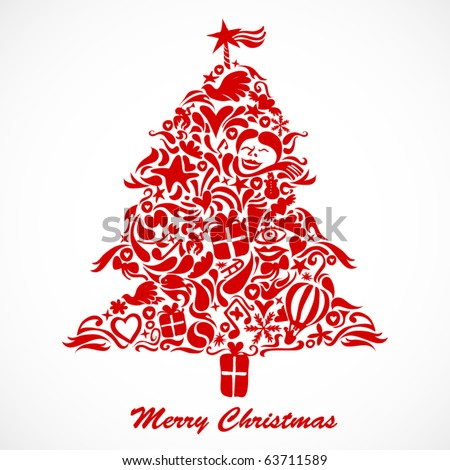 christmas tree made from little symbols - stock vector