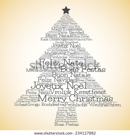 "Christmas tree made from ""Merry Christmas"" in different languages in vector format. - stock vector"