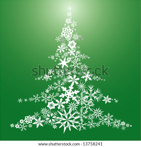 Christmas tree made from snow flakes - stock vector