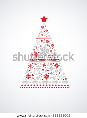 Christmas tree made from snowflakes - stock vector