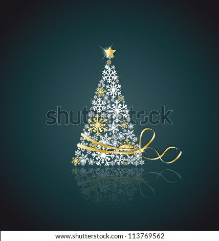 Christmas tree made from snowflakes with ribbon - stock vector
