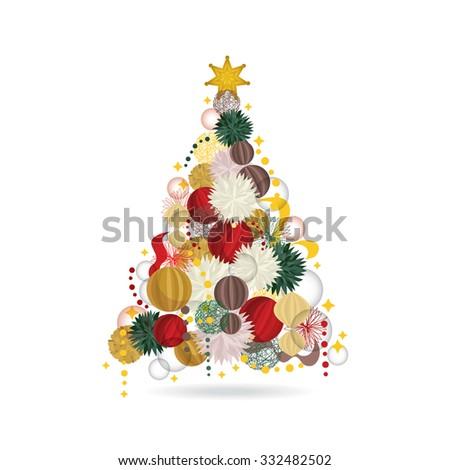 Christmas tree made of Christmas decoration - stock vector