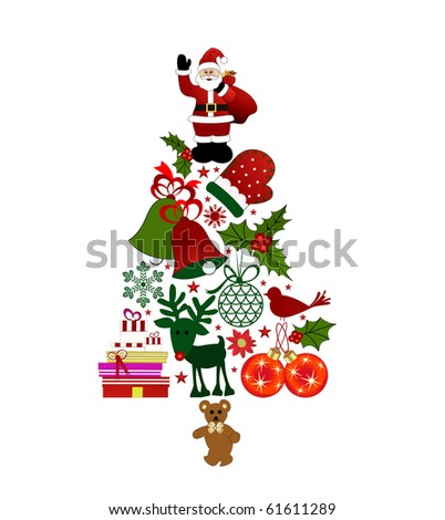 Christmas tree made of christmas elements - stock vector