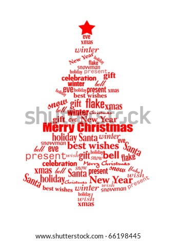 Christmas tree made of red Christmas words  - vector illustration