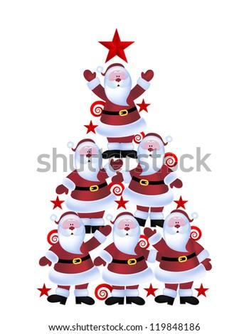 Christmas tree made of santas - stock vector