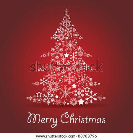 Christmas tree made of snowflakes - stock vector