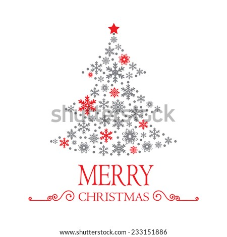 Christmas tree made of snowflakes on white background - stock vector