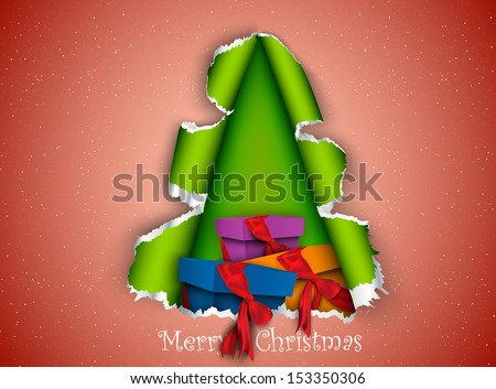 Christmas tree made of torn paper with gifts inside - stock vector