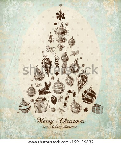 Christmas Tree Made of Xmas engraved icons and hand drawn elements, vintage old paper texture, floral corner decorations, polka dot background for Xmas card retro design - stock vector