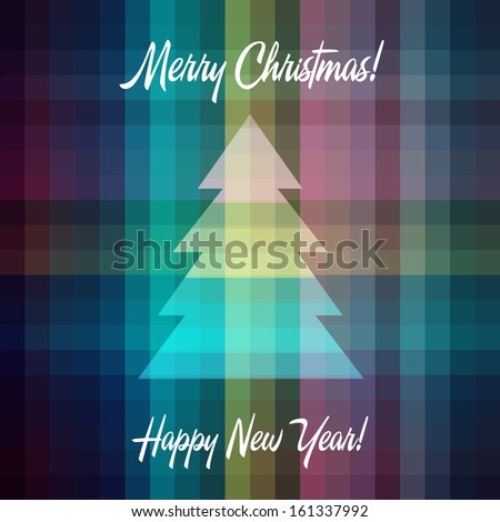Christmas tree, Merry Christmas, Happy New Year, Hipster style colors squares, background, vector