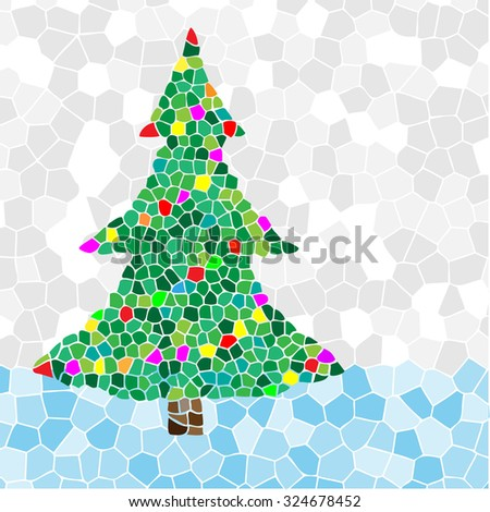 Christmas Tree mosaic. Illustration vector EPS10. - stock vector