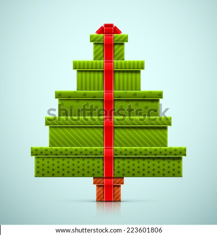 Christmas tree of gifts, eps 10 - stock vector