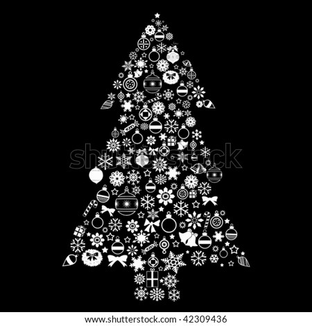 Christmas tree on a black background - stock vector