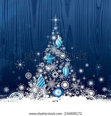 Christmas tree on dark blue background - stock vector