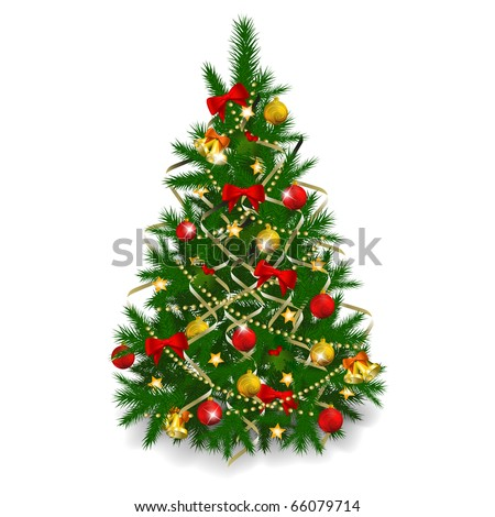 Christmas tree on white background. Vector eps10 illustration - stock vector
