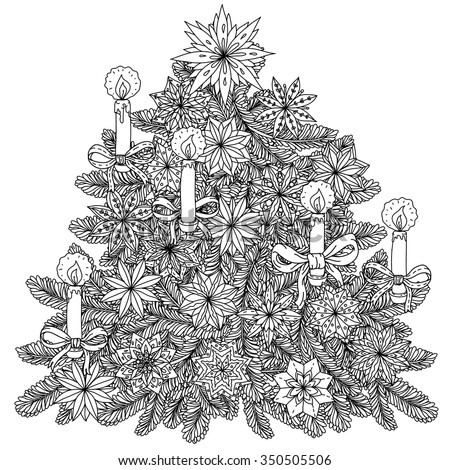 Christmas tree ornament with decorative items, Black and white. Zentangle patters.  The best for your design, textiles, posters, coloring book - stock vector