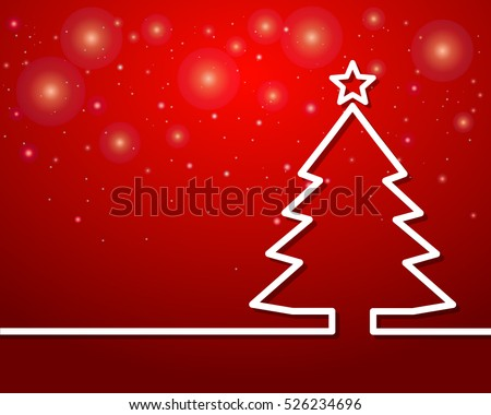Christmas tree outline with star on red background-Vector Illustration