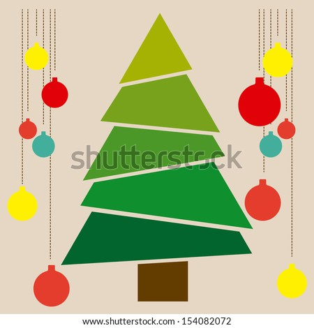 christmas tree over blue background vector illustration - stock vector