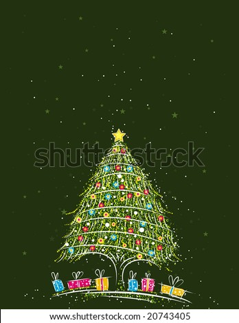 christmas tree  over  green background, vector illustration - stock vector