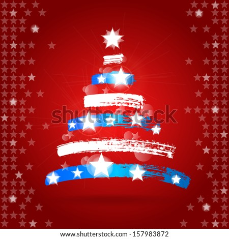 Christmas Tree Painted in American Flag Colors  - stock vector