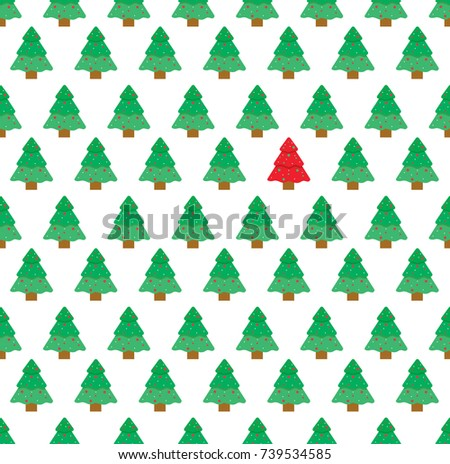 Christmas Tree Pattern Seamless Vector For Wrapping Paper Wallpaper Template Card Poster