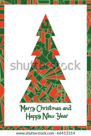 Christmas tree postcard - stock vector